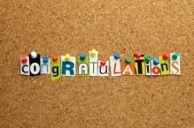 Congratulations pinned on noticeboard